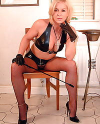 Superb older lady's femdom and fishnet