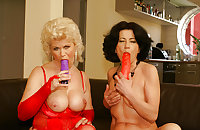 Two Grannies Stripping and Toying