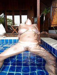 My 48 year old wife - Dripping wet exposing myself