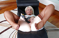 Older English lady lounges in vintage nylons